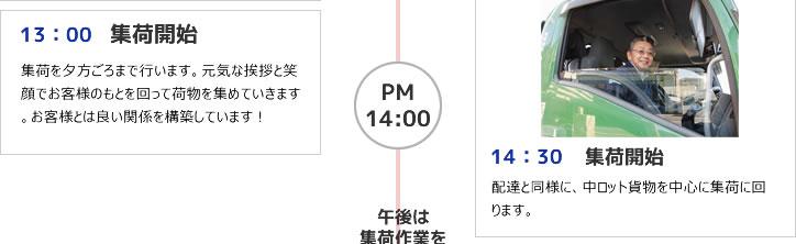 13:00 集荷開始 14:30 集荷開始