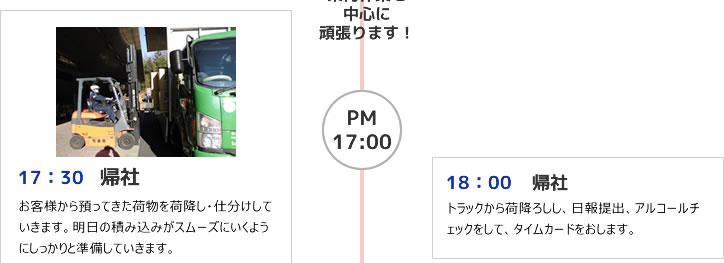17:30 帰社 18:00 帰社