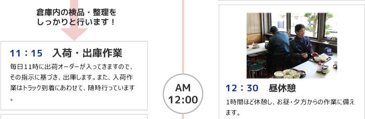 11:15 入荷・出庫作業 12:30 昼休憩